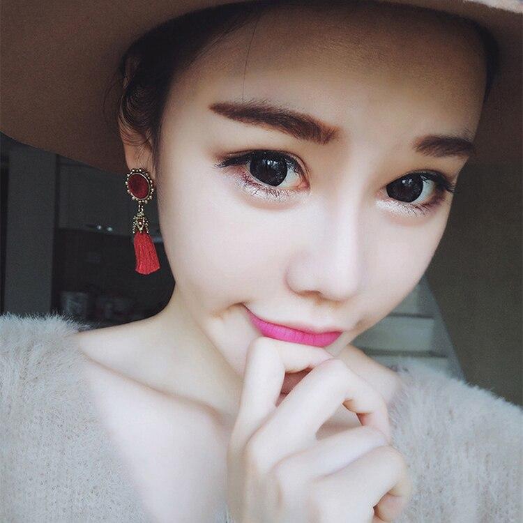 Women Fashion Jewelry Vintage Velvet Ball Statement Fringed Drop Earring Female Jewellery ,Ear Studs gray a 5