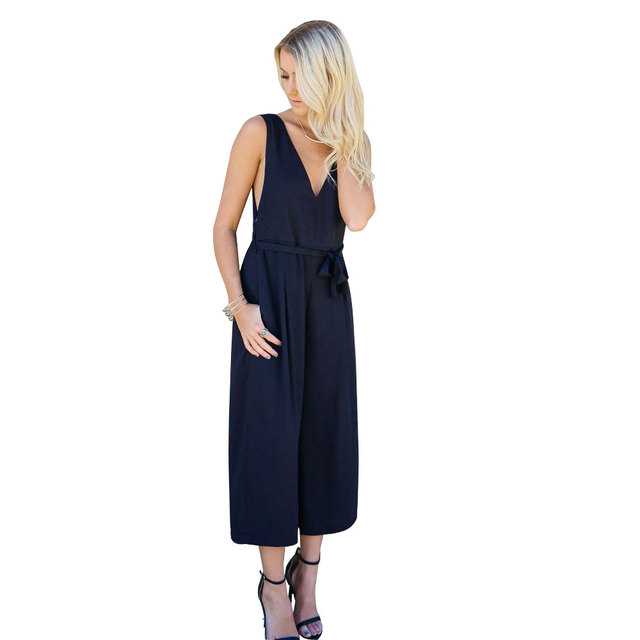 New Fashion Women Jumpsuits Women Sexy Backless Sleeveless Loose Slim Casual Party Overalls Rompers With belt macacao
