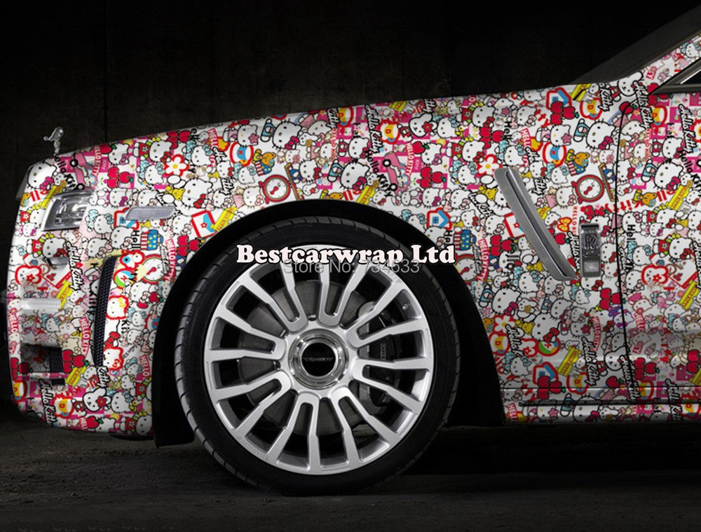 Top Quality Hello Kitty Sticker Bomb Vinyl Car Wrapping Film With