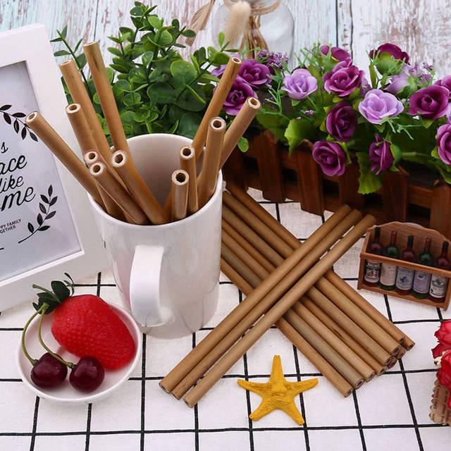 Bamboo Reusable Drinking Straw 25 Pcs Set