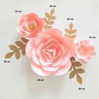 Custom Handmade Baby Pink Fleur Assembled Giant Paper Flowers Gold Leaves Set 4 Nursery Wall Deco Baby Shower Girls Room