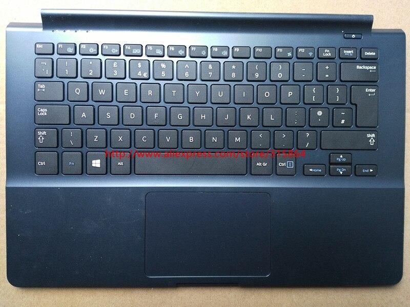 original new laptop keybord with c shell case palmrest for samsung 905s3g 915s3g BA75-04674A UK layout drak blue color