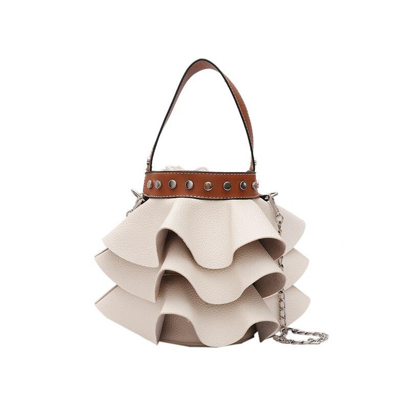 Women Fashion Shoulder Bags Cute White Strap Bucket Bag Handbags Designer Ladies PU Leather Crossbody Messenger Bags