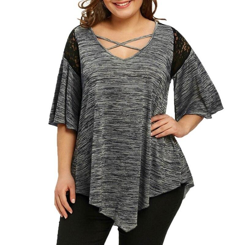 Irregular T-shirt Summer Women Strap Cross Bandage T-shirt Short Sleeve V-Neck Patchwork Lace Tops Large Size