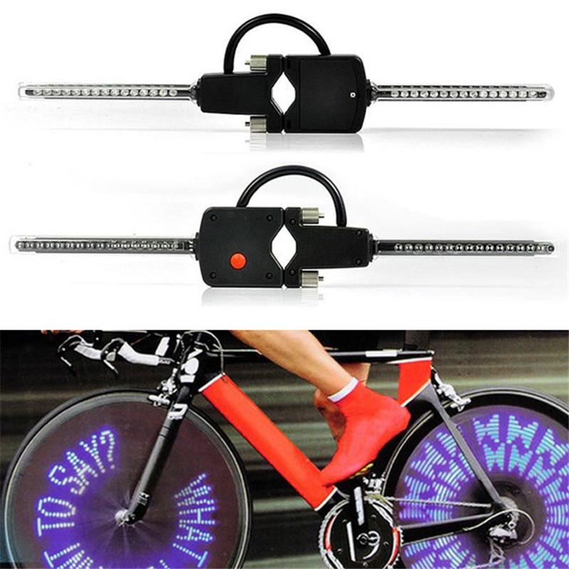 Цена за Новый ПК Программируемый Беспроводной СВЕТОДИОДНЫЙ Пользовательское Сообщение Велосипед Мотоцикл Колеса Холодный Свет Лампы Открытый MTB Горный Велосипед Оптовая