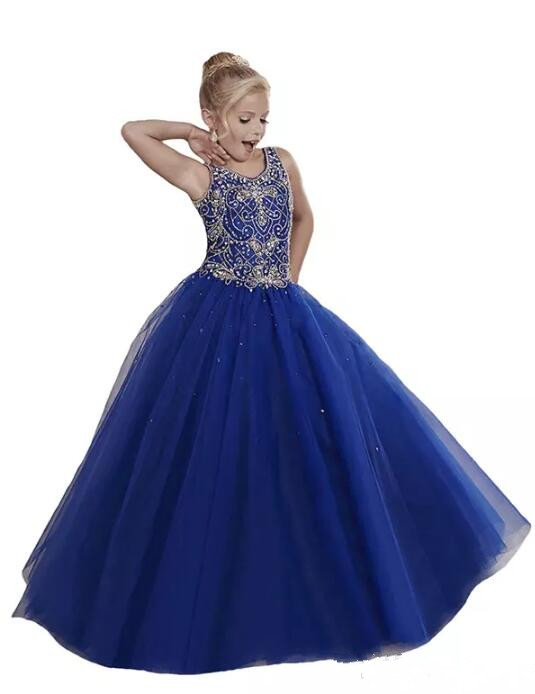 Royal Blue Beaded Straps Little Girls Pageant Dresses 2017 Princess Kids Party Gowns Flower Girl Dress Size 2-16