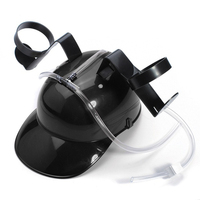 LHBL Adjustable Fun Unique Party Game Beer Soda Can Straw Holder Drinking Hard Hat Helmet Black