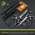 "6"" professional japan hair scissors japanese hairdressing scissors barber rotating thumb shears swivel thumb scissor rotary set"