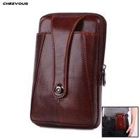 CHEZVOUS Retro Phone Bag Universal Belt Clip Leather Case for iPhone 7 8 6 plus X 5s Waist Bag Pouch for Samsung S8 S9 plus S7