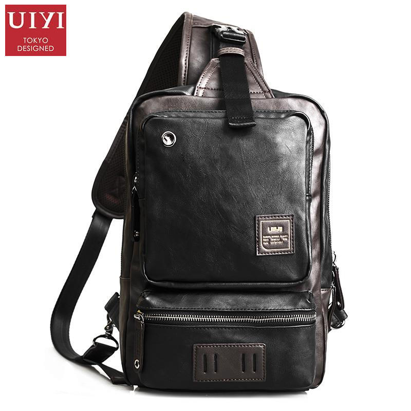 UIYI Fashion Handbag Men Crossbody Messenger Bag Unique Design PU Leather Shoulder Chest Pack Sling Satchel Back Bags 140024 uiyi original design men handbag pu leather satchel messenger crossbody bag small casual business shoulder sling bags 160108