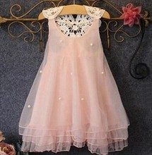 2017 summer female children's wear dress baby princess dress han edition of the new foreign trade net yarn beading encryption
