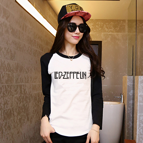 e096ebda Led Zeppelin Print T-shirts Female Raglan Long Sleeved T-shirt Woman Tee  Girl Clothes Hippie Punk Loose Old School Music