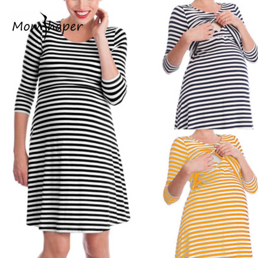 52faf579d5cc2c9 Одежда для беременных женщин, Полосатое платье, платья для беременных,  кормящих и кормящих мам