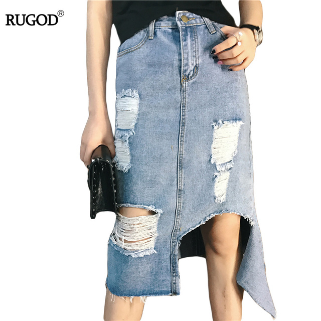 014dfa544 Vintage Jean Skirt Women Summer Style High Waist Denim Skirts Casual Long Ripped  Holes Denim Skirt For Female Plus Size S-XL