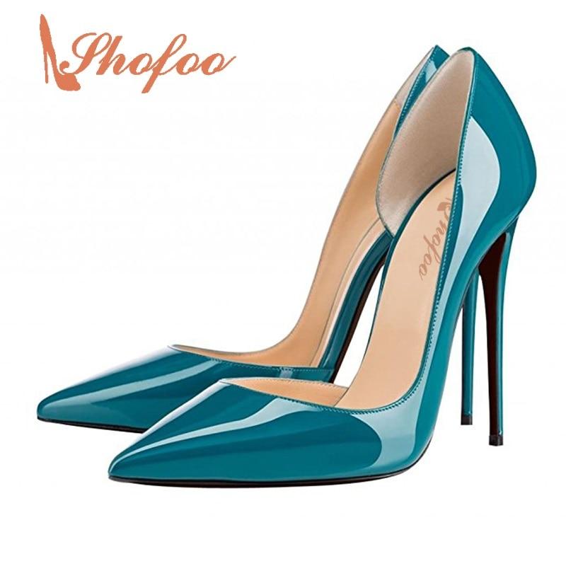 ФОТО Shofoo Women's Luxury Blue Fashion Genuine Patent Leather Korean High Heels D'Orsay  Pumps Sandals Slip On ,Large Size 4-16
