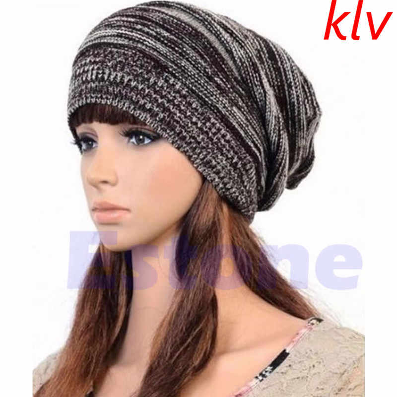 Detail Feedback Questions about KLV New arrival good quality hat forMen  Women s Knit Baggy Beanie Beret Hat Winter Warm Oversized Cap Unisex on ... f77ee9863951