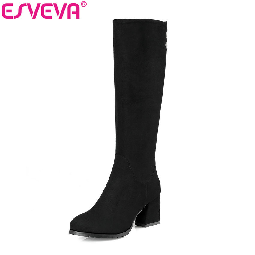 ESVEVA 2018 Women Boots Rivet Comfortable Short Plush Square High Heels Knee High Boots Fashion Out Door Ladies Boots Size 34-43 esveva 2018 winter women boots over knee high boots real leather scrub boots square heels short plush ladies boots size 34 39