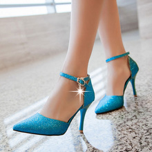 Europe America Style Women Summer Thin High Heel Pointed Toe Ankle Wrap Red Bottom Fashion Sandals