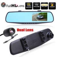 FHD 1080P 4.3 inch Dual Lens Car DVR Rear View Mirror Dash Cam Video Camera Loop-Cycle Recording Car DVR Camera