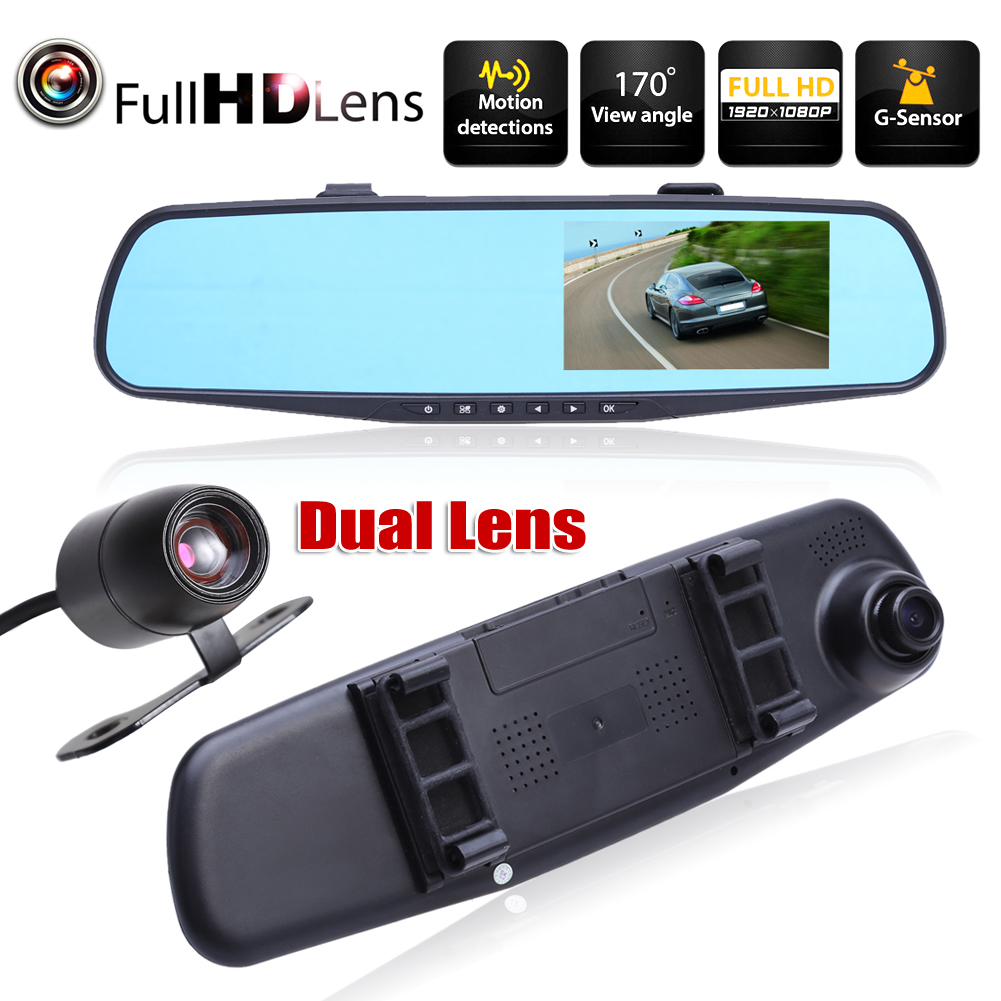 FHD 1080P 4.3 inch Dual Lens <font><b>Car</b></font> <font><b>DVR</b></font> Rear View <font><b>Mirror</b></font> Dash Cam Video Camera Loop-Cycle Recording <font><b>Car</b></font> <font><b>DVR</b></font> Camera image