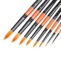 MEEDEN 6/8 Pcs Artist Round Pointed Paint Brush Set Short Handle for Watercolor Acrylic Oil Painting Handmade Nylon Hair