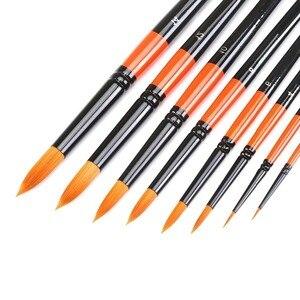 Image 1 - MEEDEN 6/8 Pcs Künstler Runden Spitzen Pinsel Set Kurzen Griff für Aquarell Acryl Ölgemälde Handmade Nylon Haar