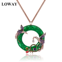 LOWAY Fashion Lady Exquisite Rose Gold Plated Colorful CZ Micro Paved Phoenix Birds Pendant Long Sweater