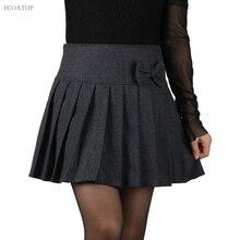 Большие размеры юбка с бантом Осенняя мода для женщин молния закрытый Мини Короткие плиссированные шерстяные Falda женские черные серые зимние юбки