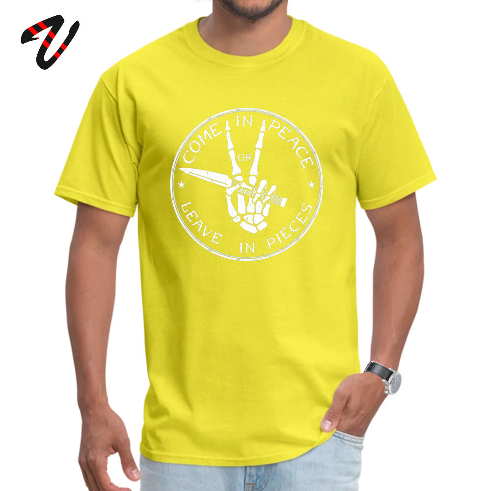 Street Come in Peace T-Shirt 2019 Discount Summer Short Sleeve O-Neck Tops Shirt Cotton Men's Fitness Tight T-Shirt Come in Peace 3117 yellow