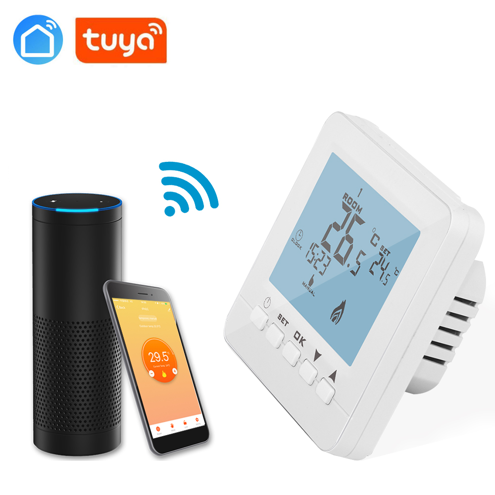 WIFI 16A Temperature Controller Touch Button Thermostat For Floor Heating, Electric Heating System Thermostat Tuya App
