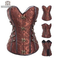 Steel Boned Steampunk Corsets Bustiers Women Black Brown Leather Gothic Corset Top Sexy Waist Lingerie Burlesque