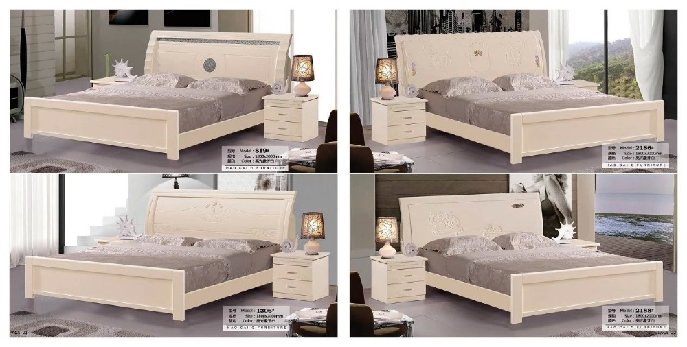 solid wood bed Fashion Carved leather french bedroom furniture king size HC00116