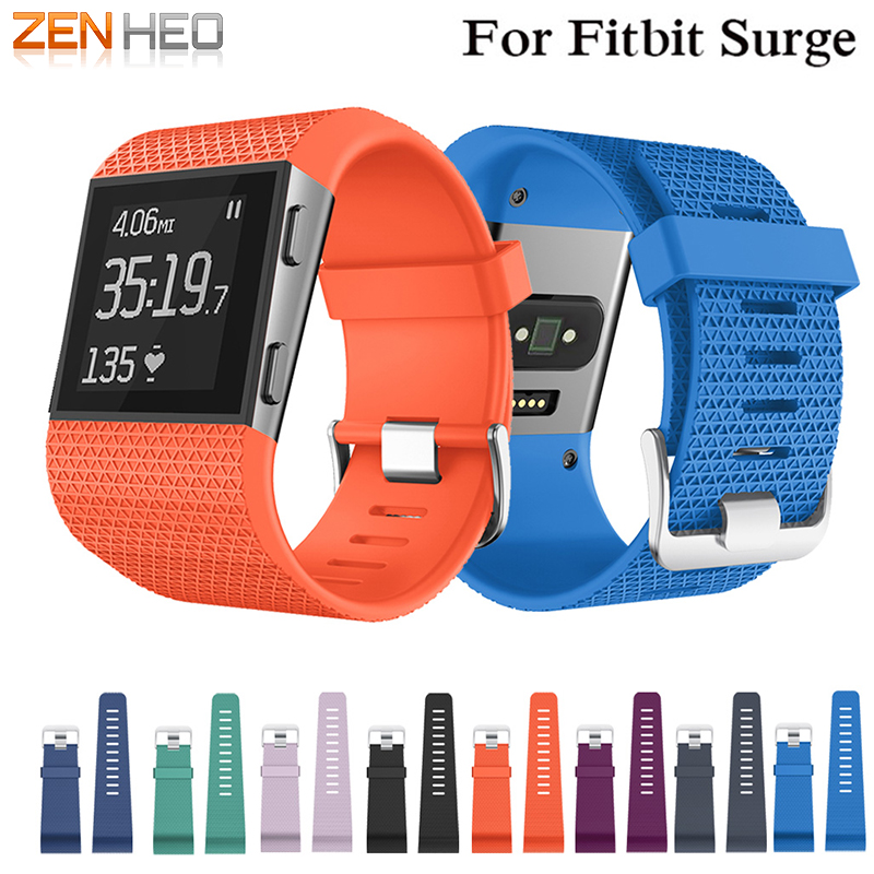 Watch-Strap Wrist-Band Surge-Tracker Fitbit Replacement Silicone for with Tools Metal-Buckle