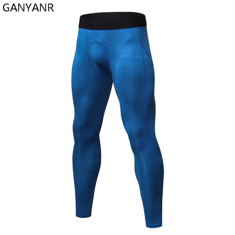 GANYANR Running Tights Men Yoga Basketball Compression Pants Gym Sports Bodybuilding Jogging Athletic Leggings Fitness Training
