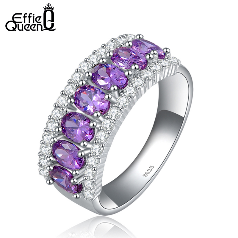 Effie Queen Luxury Women Wedding Ring with AAA Purple Austrian Cubic Zircon New Fashion Ladies Finger Ring DR43