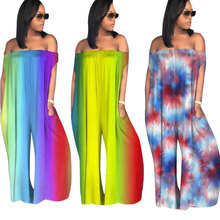 2019 new Spring and summer women  jumpsuit Loose tube rainbow jumpsuit Striped full length jumpsuit 6 colors недорого