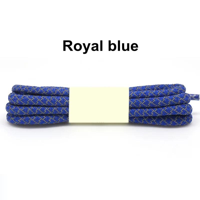 1 пара флуоресцентных кроссовок шнурки спортивные шнурки полиэстер Пейсли светоотражающие шнурки Ронды видимая безопасность кордон обуви кружева - Цвет: Royal blue