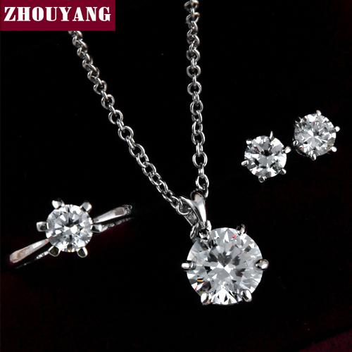 ZYS226 Princesa Cut Seis Garra Rose Plateó la Joyería del Anillo Del Pendiente Del Collar Rhinestone Hecho con Cristales Austriacos