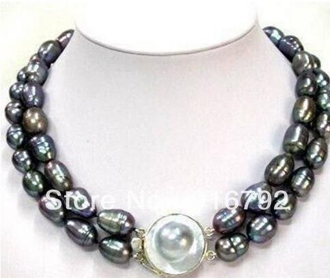 Free shipping> 2 rows of huge 11-13 MM TAHITIAN black baroque pearl necklaceFree shipping> 2 rows of huge 11-13 MM TAHITIAN black baroque pearl necklace