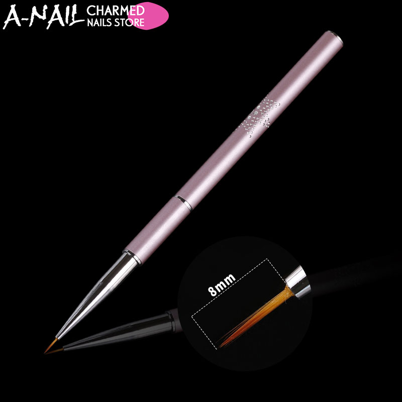 A-Nail 8mm Acrylic Nail Art Pen Pink metal handle UV Gel Painting Line Brush Nylon Hair Brushes Manicure Nail Liner Tools new 1pc black handle nylon hair ombre brush nail art brushes soft professional nails manicure tools for gradient uv gel nail