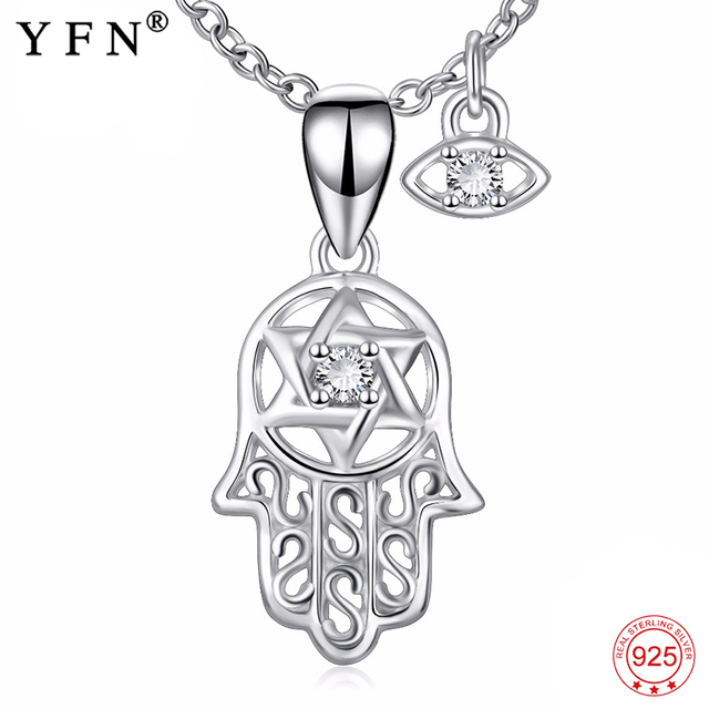 Genuine 925 sterling silver hamsa hand evil eye pendants necklaces genuine 925 sterling silver hamsa hand evil eye pendants necklaces hand of fatima nazar choker jewelry mozeypictures Images