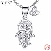 YFN Genuine 925 Sterling Silver Hamsa Hand Evil Eye Pendant Necklace Of Fatima Nazar Collier Choker Jewelry Gift For Women
