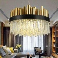 Luxurious Modern LED Crystal Lights Stainless Steel Simple Atmospheric Art Nordic Light Villa Restaurant Crystal Lamp