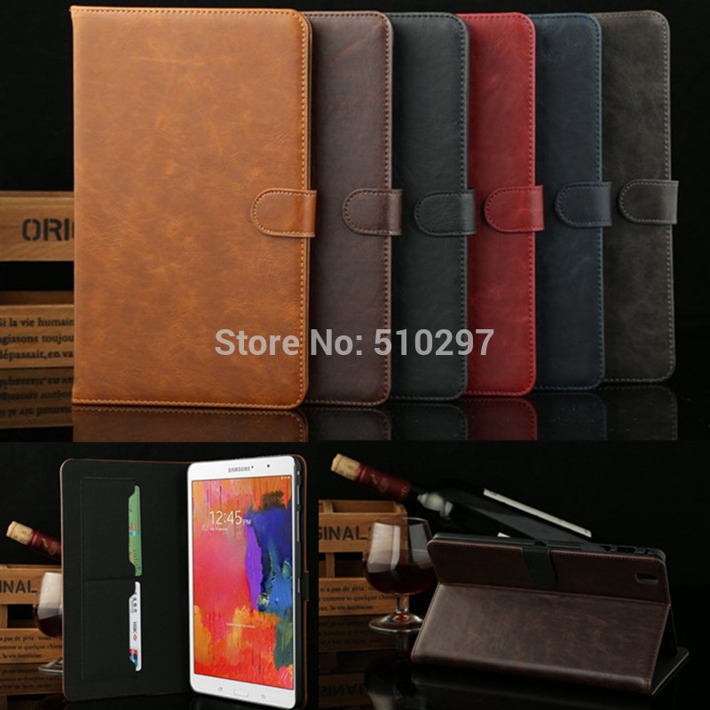 все цены на  DS Crazy Horse pattern PU Leather Case for Samsung Galaxy Tab Pro 8.4 T321 T325 Stand Cover Case for Samsung T320  онлайн