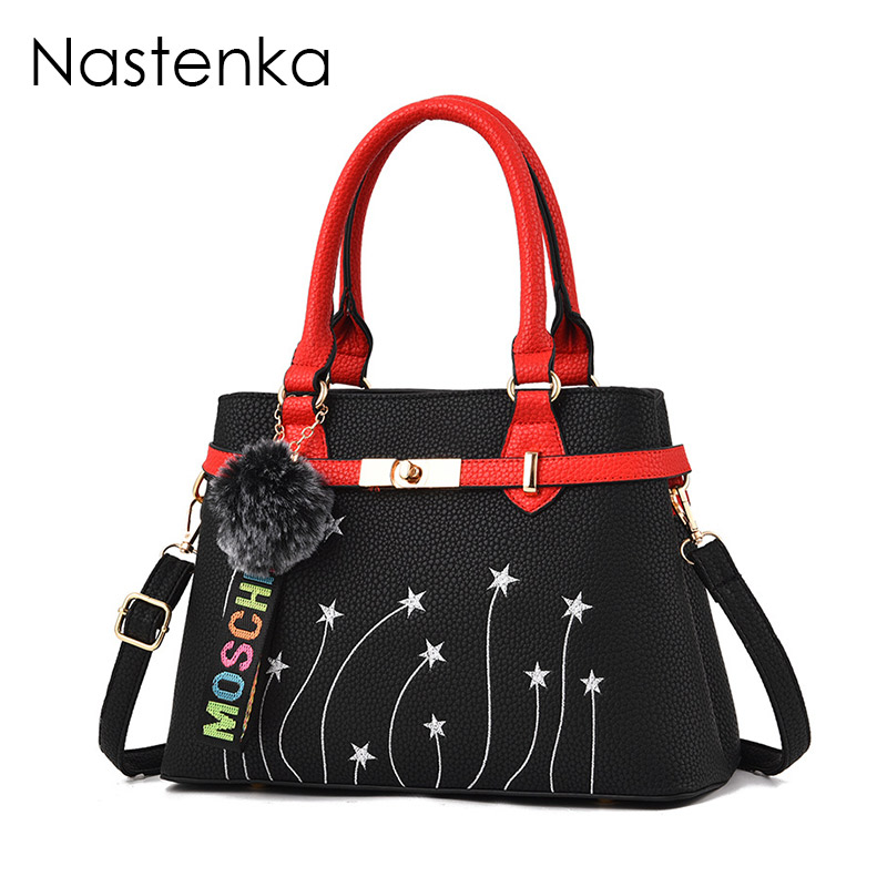 Nastenka Ladies Luxury Handbag Women Bag Designer Shoulder Bags Leather Tote Women fashion Embroidery Bag with Flower Sac Femme luxury chinese style women handbag embroidery ethnic summer fashion handmade flowers ladies tote shoulder bags cross body bags