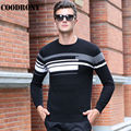 2016 New Arrival Fashion Striped O-Neck Sweaters Winter Warm 100% Real Merino Woolen Sweater Men Knitted Cashmere Pullovers 6348