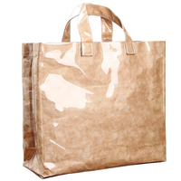 [Telastar] Transparent Waterproof PVC Jelly Bag Vintage Kraft Paper Tote Bag Casual Shopping Bag Summer Beach Bag Big Capacity