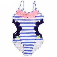 Meninas do bebê Swimwear One Piece Suit Blue & White Striped Projeto Esvaziamento Maiô 1-14Y Crianças Crianças Maiô de Natação Desgaste