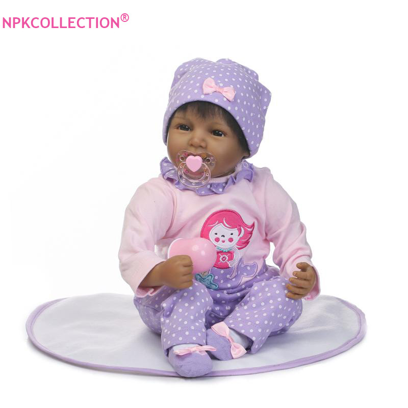 22inch 55cm Baby Reborn African American Baby Doll Black Skin Reborn Baby Doll with Lovely Clothes Kids Toys Juguetes Brinquedos 22inch 55cm synthetic little wary african american long snow white wig for black women