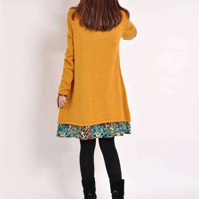 2020 New Autumn Women Long Sleeve Dresses Winter Casual Floral Patchwork Pocket O-neck Loose Mini Dress Plus 4XL Spring Vestidos 6
